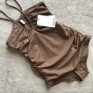 NWT Siiour Proprio 1-Piece Swimsuit Vintage Brown